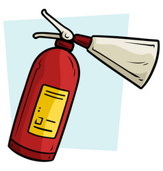 Cartoon red fire extinguisher icon vector