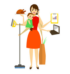 cartoon super mom concept character vector image