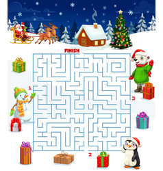 Christmas maze game with square labyrinth vector