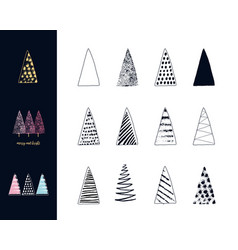 christmas trees set hand drawn ink style vector image