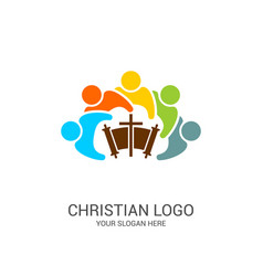 Church logo and biblical symbols vector