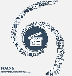 Cinema movie icon in the center Around the many vector image
