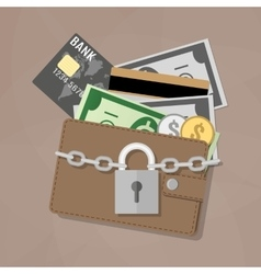 Closed wallet and locked pad lock vector image