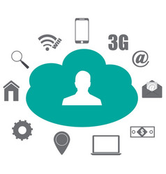 cloud users with different icons graphics vector image