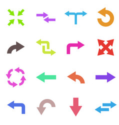 colored arrows set of flat icons vector image