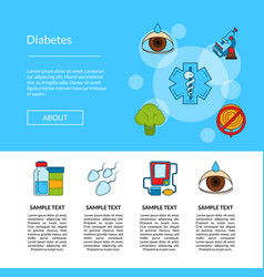 colored diabetes icons web banner design vector image