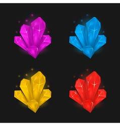 Crystals and diamonds resources set for game vector