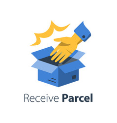 delivering shop order open box and hand vector image