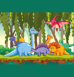 different dinosaur in forest vector image