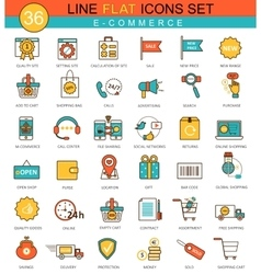 E-commerce flat line icon set Modern vector