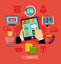 e-commerce round composition vector image