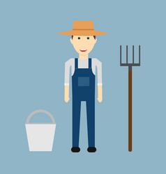 farmer man character constructor and objectfunny vector image