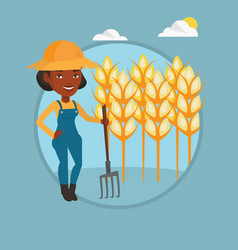 Farmer with pitchfork vector