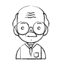 figure old man teacher with glasses and uniform vector image