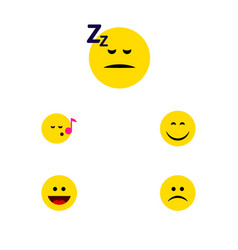 Flat icon emoji set of sad smile asleep and vector