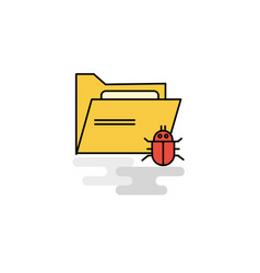 Flat infected folder icon vector