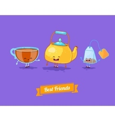 Funny cartoon Funny teapot cup and teabag vector