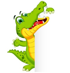 Funny crocodile cartoon posing with blank sign vector