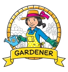Funny woman gardener Emblem Profession series vector