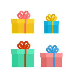 gift box with bow set christmas and birthday vector image