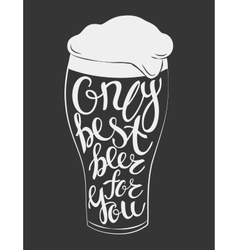 Glass of beer lettering vector
