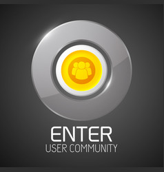 Glossy community button with chrome border vector