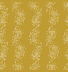 golden feather decor seamless pattern vector image