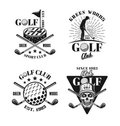 golf set four black isolated emblems vector image