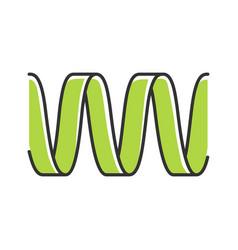 Green sound wave color icon wavy ribbon line vector
