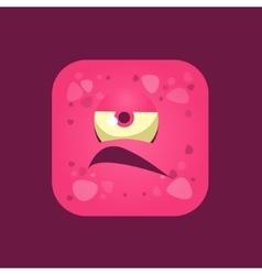 Grumpy Pink Monster Emoji Icon vector