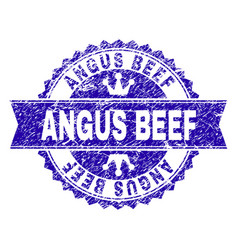 Grunge textured angus beef stamp seal with ribbon vector