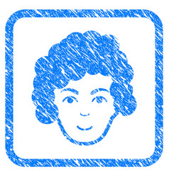 Hairstyle head framed stamp vector