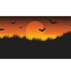 Halloween silhouette bat flying vector