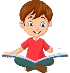 happy boy sitting with opened a book vector image