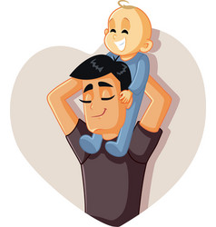 happy father holding baup playing together vector image