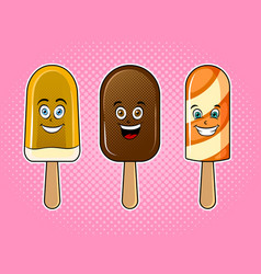 happy ice cream pop art vector image