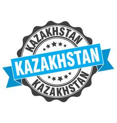 kazakhstan round ribbon seal vector image