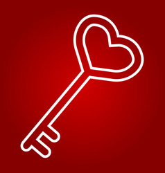 key with heart shape line icon valentines day vector image