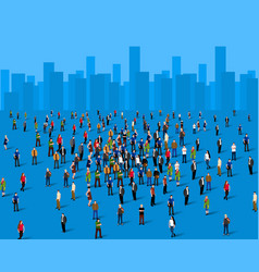 Large group of people over the city business vector