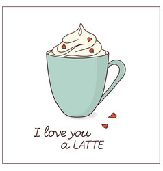 latte love card vector image
