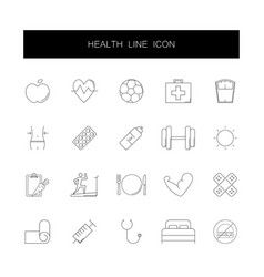 line icons set health pack vector image