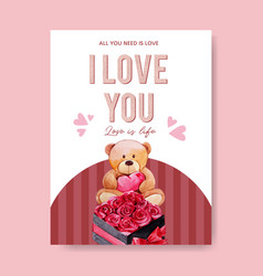 Love poster design with teddy bear roses vector