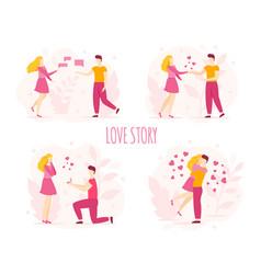 love story romantic couple bride groom newlyweds vector image