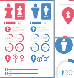 Male Female Gender Signs Set Information Graphics vector