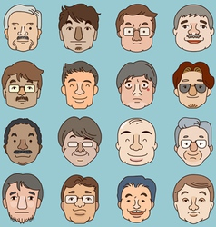 Men faces set asia face collection vector
