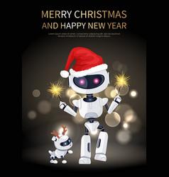 merry christmas robot and dog vector image