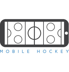 mobile ice hockey concept with smartphone vector image