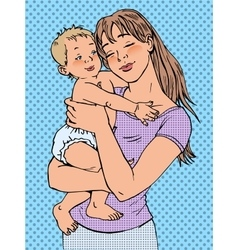 Mom woman with a baby in her arms vector