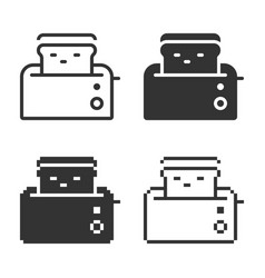 monochromatic toaster icon in different variants vector image