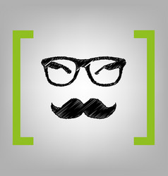 mustache and glasses sign black scribble vector image